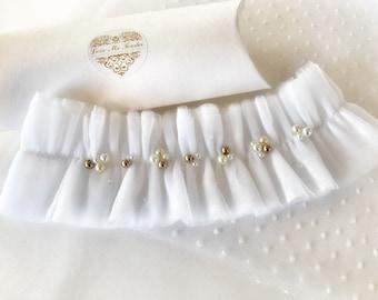 Tulle garter Belt White