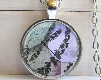 Dragonfly Pendant, Dragonfly Moon Art Pendant, Silver And Glass Dragonfly Necklace