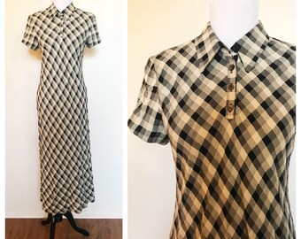 Vintage 90s Gingham Collared Maxi Dress