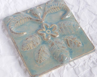 Sky Blue Flower Ceramic Tile