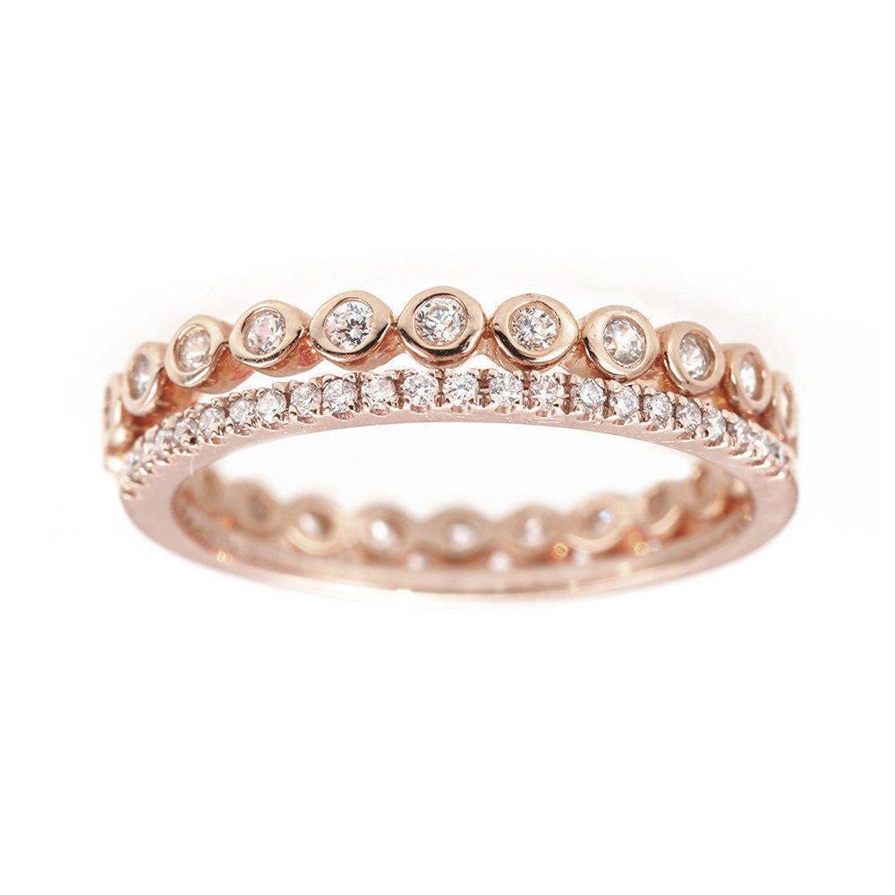 Eternity Diamond Ring Stack Diamond Wedding Rings Micro Pave