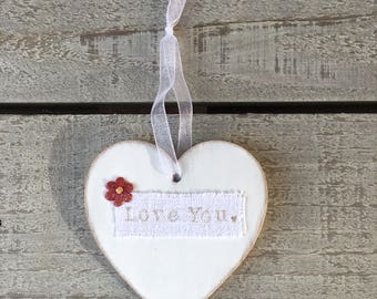 Mothers Day Gift for Her Personalised, Wooden Heart Door Hanger, Hanging Wooden Heart Tag, Wedding Decor, Unique Special Love Gift