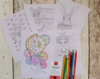 Alice in Wonderland, Colouring pages, colouring pack, gift for her, Alice colouring, fantasy colouring, creative colouring, gift idea, Alice