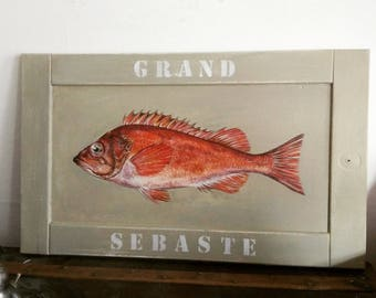 Painting fish large redfish on reclaimed wood