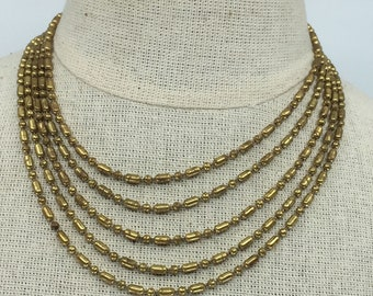 Unusual vintage c.1940 dot dash multi-chain necklace gold plate over brass 39cm