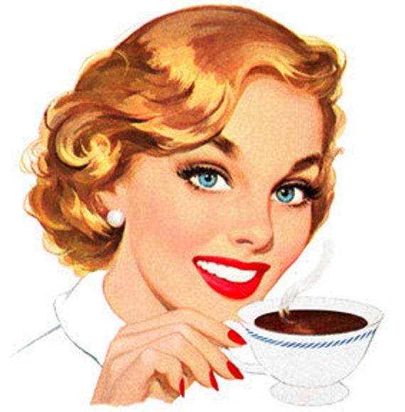 Retro Cartoon Comic Woman Drinking Coffee Tea Vintage Art