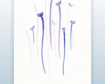 Minimalist modern  watercolor sketch. Abstract flowers drawing. Floral illustration for wall decor.