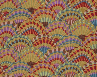 PAPER FANS in Ochre  pwgp143 - Kaffe Fassett Collective Classics for Free Spirit Fabrics - By the Yard