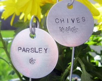 """hand stamped garden / herb markers  1-1/2"""" round .... qty 3"""