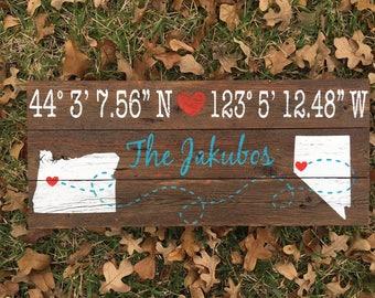 Latitude Longitude Wood Sign Wedding date anniversary date wedding location wedding gift new home custom coordinates where you met