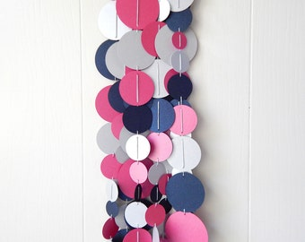 Circle Garland Pink Navy and Silver/ Nursery Bunting / Party Garland / Cirlce Garland / Wedding Garland / Photo Prop / Classroom Decor