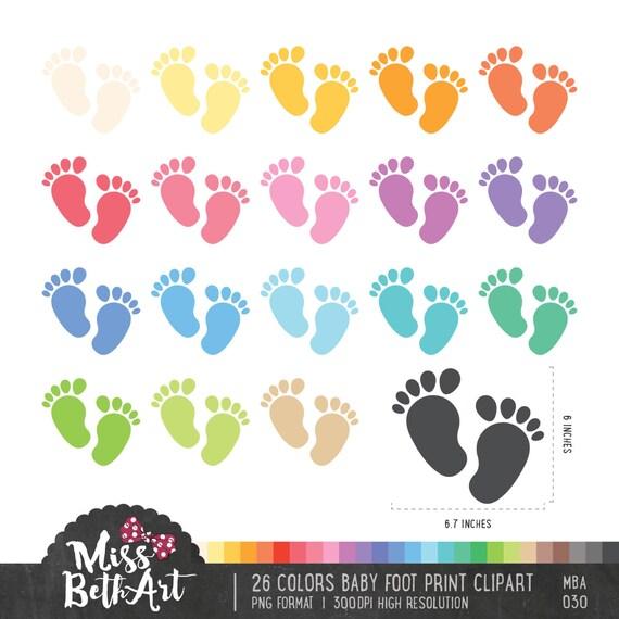 26 Farben Baby Fuß Druck Clipart sofort-Download