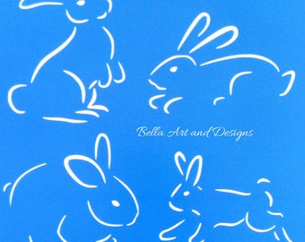 Easter Bunny Silhouette Stencils - (price is per photo/design) - *Free gift with every order*
