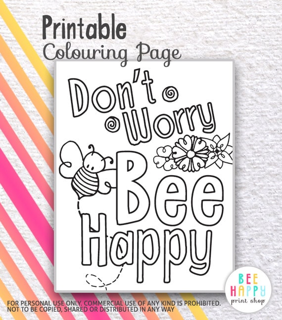 PDF PRINTABLE Colouring Coloring Page Sheet Dont Worry