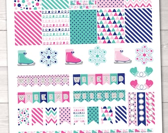 DIY Printable Planner Stickers Winter Ice Skating Planner Sticker Set Weekend Banners Flags Ice Skates Snowflakes & Checklists