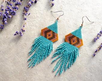 God's Eye // Native American Beaded Earrings // Shoulder Duster // Long Fringe  // Boho Earrings // Dangle & Drop Earrings