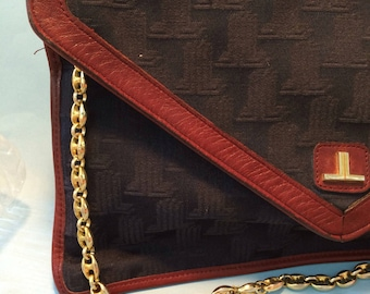 LANVIN VINTAGE BAG pochette  fabric and leather monogram 70's