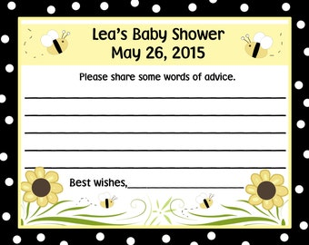 24 Personalized Baby Shower Advice Cards   - Baby Bee