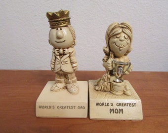 World's Greatest Dad & World's Greatest Mom Vintage Wallace and Berrie Figurines, Paula 1970 W-136 And W-135 Father's Day Present!