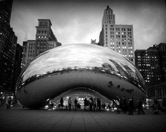 CB / photographie de Chicago Cloud Gate haricot noir et blanc impression urbaine landmark architecture moderne argent liquide art sculpture décoration murale art