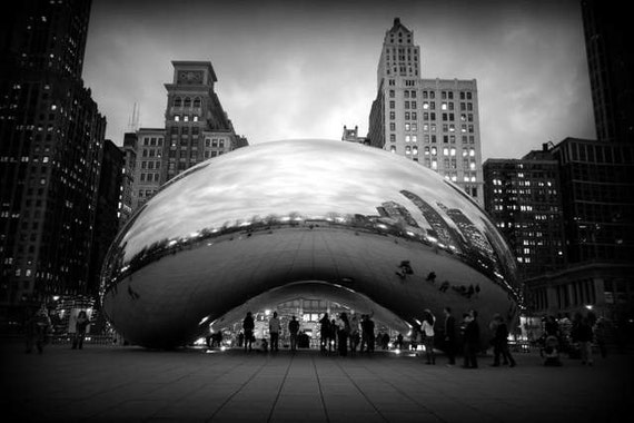 Chicago Bean Refine Cloud Gate Black And White Travel