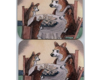 2 x Welsh Corgi coasters she was a stickler for table manners maketh dog eating nicely bowl of bones from a Susan Alison watercolor painting