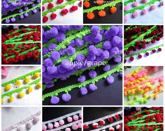 Pom Pom Fringe, 1 inch wide selling by the yard-select color