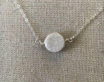 White Druzy Necklace //  Druzy Necklace // Drusy