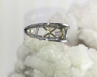 "Unusual jewelry here! Gold and silver ""laser"" ring handmade"