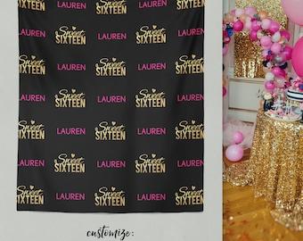 Sweet 16 Birthday, Sweet 16 Banner, Sweet 16 Backdrop, Sweet 16 Party, Sweet 16 / H-T21-TP AA2
