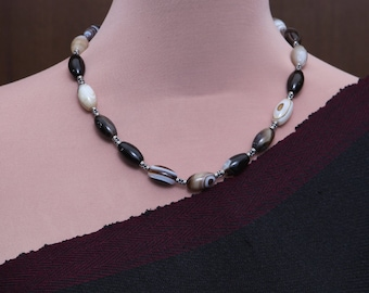 Agate and Sterling Silver Gemstone Necklace / Beaded Necklace Mala / necklace for women / statement necklace