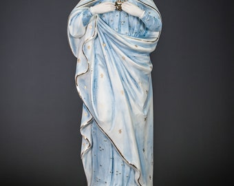 "Virgin Mary Statue | Immaculate Heart of Blessed Mary Figure | Madonna Figurine | Religious Antique Porcelain | 16"" Large"