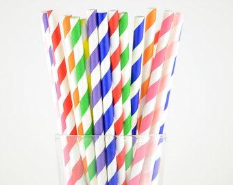 Rainbow Paper Straws Mix/Colorful Striped Straws/Party Decor/Cake Pop Sticks/Party Supplies/Wedding/Baby Shower