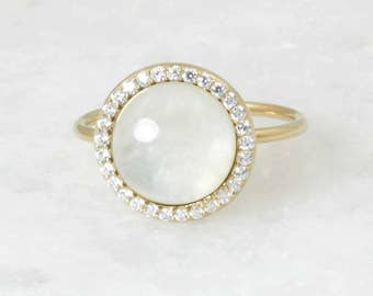 Rainbow Moonstone Halo Diamond Statement Ring, Handmade Yellow Gold 14 karat Ring, Bridal Engagement Ring Fine Jewelry, Wedding Gift Jewelry