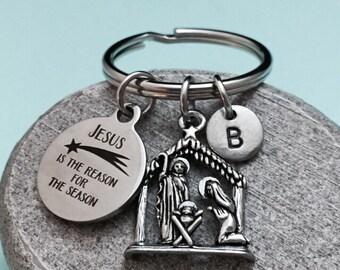 Christmas keychain, Christmas charm, religious keychain, personalized keychain, initial keychain, customized keychain, monogram