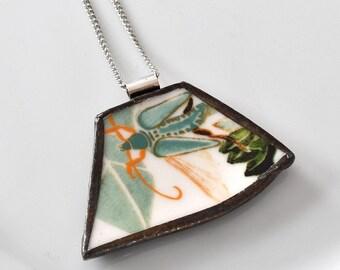 Broken China Jewelry Pendant - Green Grasshopper Bug