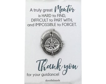 Mentor gift, Silver Compass Key Ring, Teacher appreciation carded gift with message, gift for professor, tutor thank you gift, teacher gift
