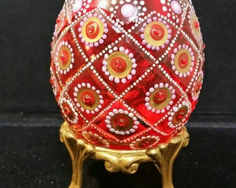 Beautifully Hand Painted Glass Egg.
