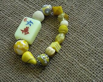 Mahjong Bracelet - Mahjong Jewelry - Mahjong Gift - Jesse James Beads - Yellow Mahjong Bracelet - Holiday Gift