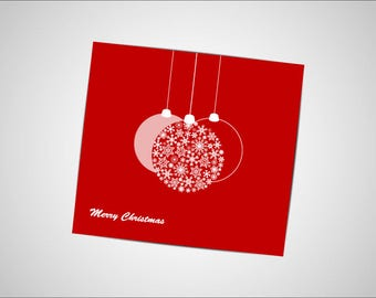 Merry Christmas digital card with snowflakes decorations on red background