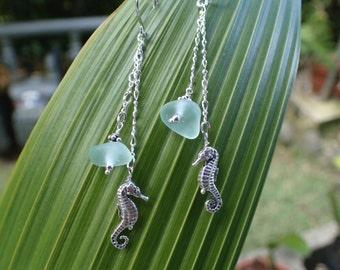 Seafoam sea glass with seahorse charm earrings