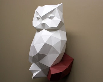 James the Owl - Papercraft, DIY Kit, Owl, Wall Decor, Low Poly, Craft Kit, Animal Head, Faux Taxidermy, Nursery Decor, Paper Trophy