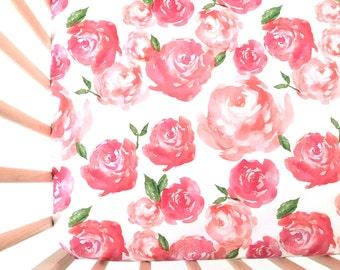 Crib Sheet Pink Peonies. Fitted Crib Sheet. Baby Bedding. Crib Bedding. Crib Sheets. Floral Crib Sheet.
