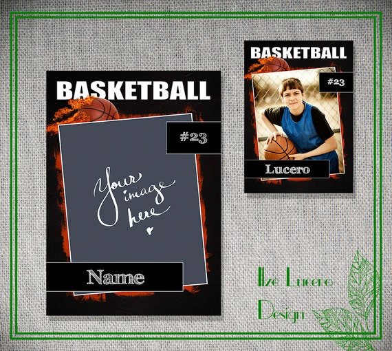 Psd basketball trading card template for Baseball card size template