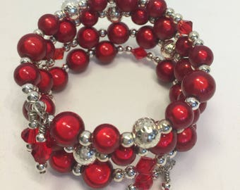 Bracelet Memory Wire 4 Coils Wrap Red Silver Christmas Holiday