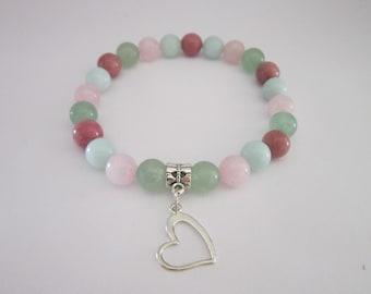 Self-Love Charm Bracelet ~ Natural Crystal Bracelet ~ Enhances self-esteem, self-acceptance, and heals your emotions.