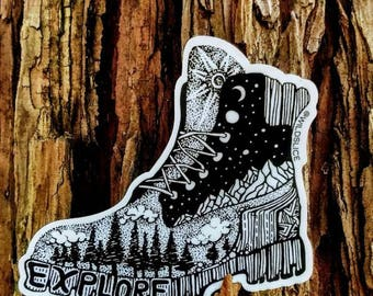"Hiking Boot Sticker 4"" Weatherproof and durable, Outdoor sticker, Travel sticker, Wanderlust, Galaxy, Moon sticker, Collectible  stickers"
