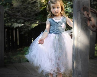 Tutu Crochet Dress Pattern: 'Coralie Dress', Flower Girl Tutu, Party Dress, 18-36mo