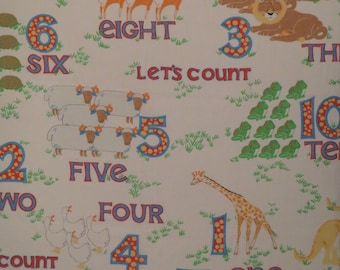 """Vintage """"Let's Count"""" Animals and 123s Twin sheet set -includes flat, fitted, and pillowcase"""