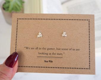 Oscar Wilde Star Earrings - Silver Tiny Stud Earrings - Gift for her Book Lover - Dainty Stud Earrings - Literature Jewelry - Book Jewellery